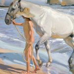 El baño del caballo, Joaquín Sorolla.